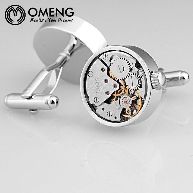 Французский стиль, высокое качество нержавеющей стали психического кристалл человек рубашка передач часы движение механизм запонки OXK011