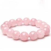 12mm naturmaterial energi stenar ros kvarts armband rund pärlor armband för rosa kvinnor kristall smycken kärlek gåva