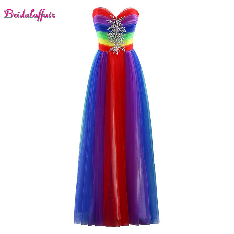 Bridalaffair Prom-Dresses Party-Gown Rainbow-Color Custom-Made Real-Photo Robe-De-Soiree