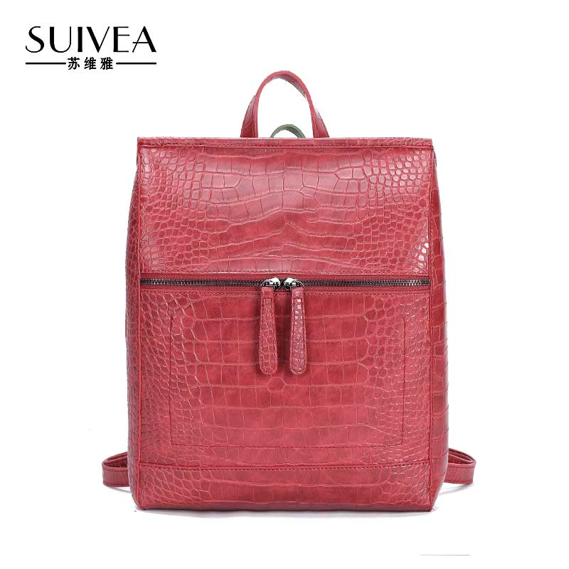 SUIVEA Brand Women Backpack Alligator School Bags for Girls New Fashion Great Practical PU Leather Ladies