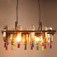 Лофт бутылка люстра творческий ресторан кафе бар Гостиная Декоративные светильники персонализированные дизайнерские люстры