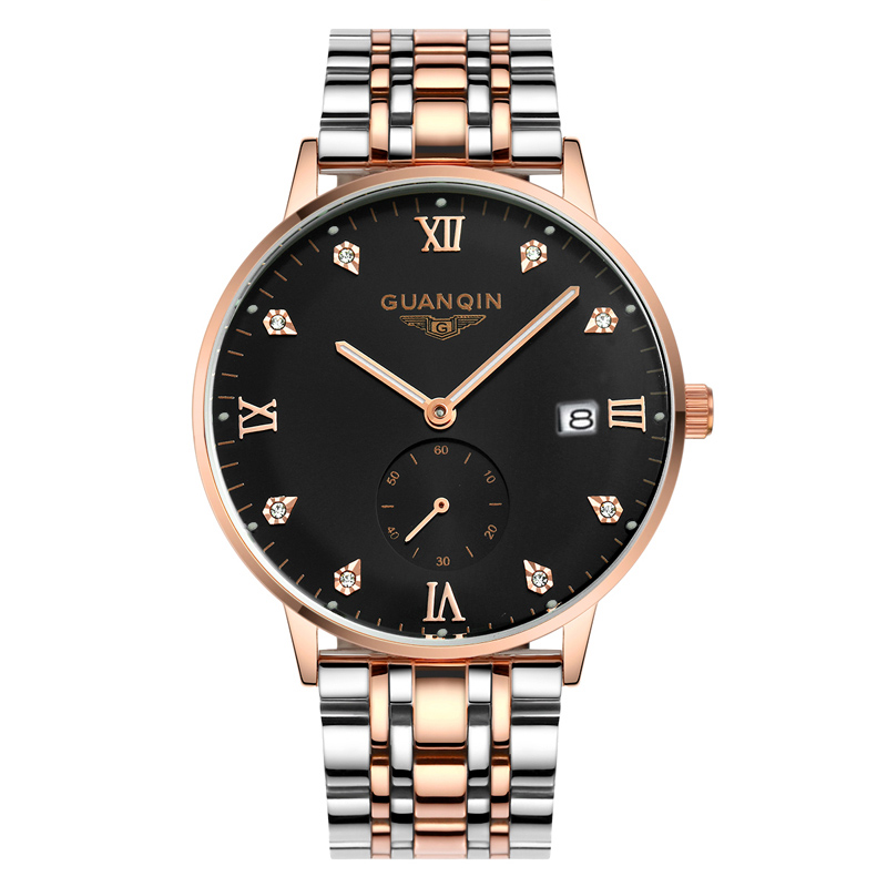 Luxury Fashion Casual Watch Top Brand GuanQin Auto Mechanical Watch Men Watches Hardlex Waterproof Calendar Luminous full steel цена 2017