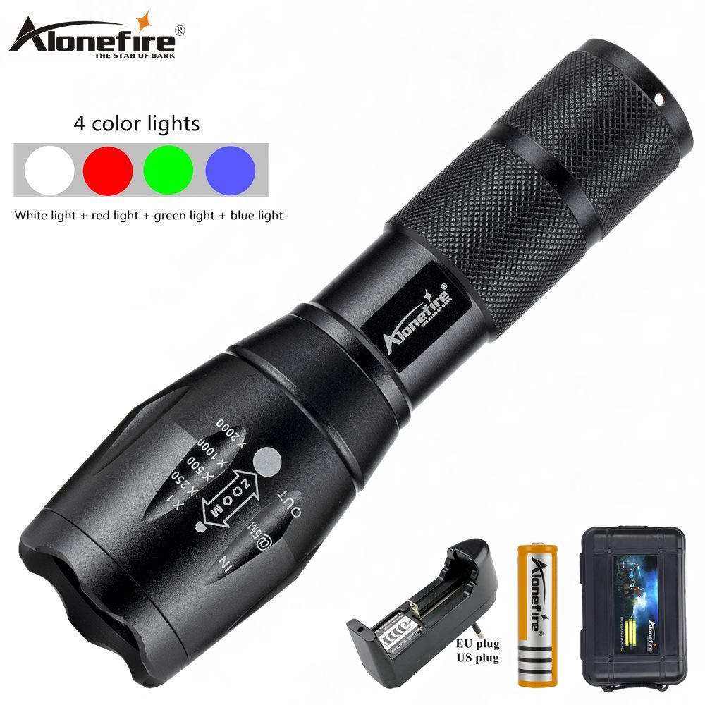 Alonefire E17WRGB Red/Green/blue/White Tactical Flashlight LED Scout Ultra Bright Hunting Light Waterproof Torch By 18650