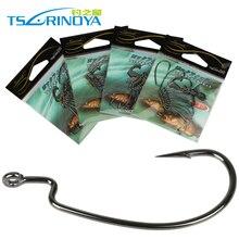 Trulinoya Fishing Hook Barbed Offset fishhooks Fit for Texas Carolina Florida Rigs 4 sizes 40pcs/lot(4packs)