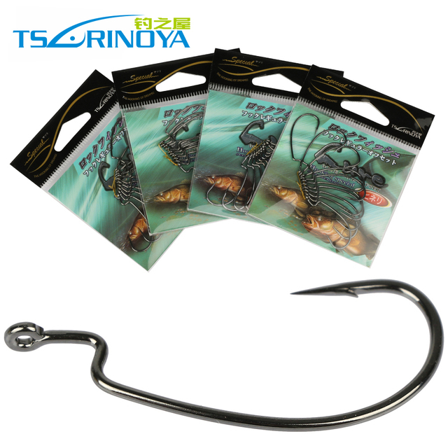Trulinoya Fishing Hook Barbed Offset fishhooks Fit for Texas Carolina Florida Rigs 4 sizes 40pcs/lot(4packs) Pesca