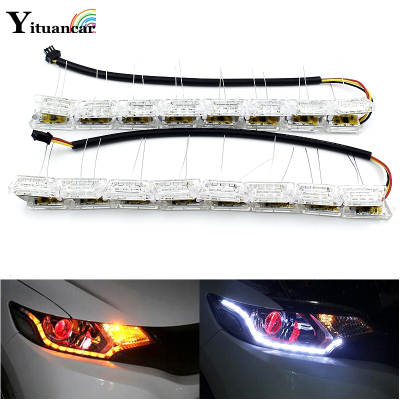 Yituancar 2Pcs Flexible White/Amber LED DRL Daytime Running Strip Light Flasher Flow Styling Turn Signal Steering Car Lighting flexible 3w 132lm 6 smd 5050 led white car decorative daytime running light 12v 2 pcs