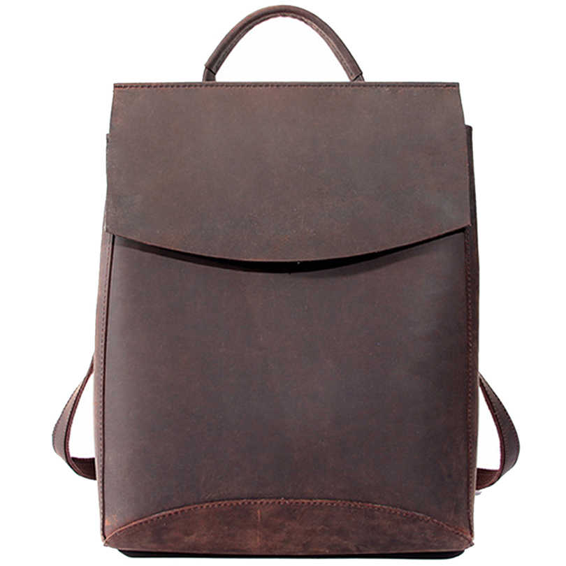 6ebd36b008 100% Real Genuine Leather Women Backpack 2019 Crazy Horse Cowhide School  Strap Laptop Daily Backpack