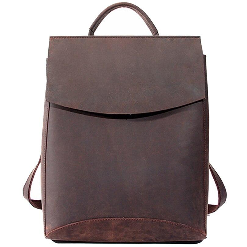 100% prawdziwe prawdziwej skóry kobiet plecak 2019 Crazy Horse ze skóry wołowej pasek Laptop codzienny plecak najwyższej jakości rzemieślnicze torba w Plecaki od Bagaże i torby na  Grupa 1