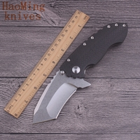 Camping Survival Hunting Folding Knife Portable Practical Tactical Combat Knives D2 Blade Carbon Fiber TC4 Rescue
