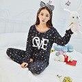 New Plus Size M-XXL Encantador Dos Desenhos Animados menina ou mulheres da longo-luva pijamas set pijamas mulheres carta impressão Outono sleepwear