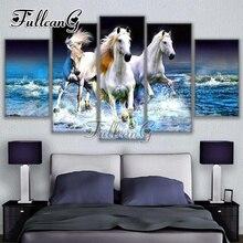 FULLCANG 5d diy diamond painting three horses animals full drill cross stitch 5pcs mosaic embroidery kit handmade hobby G1262