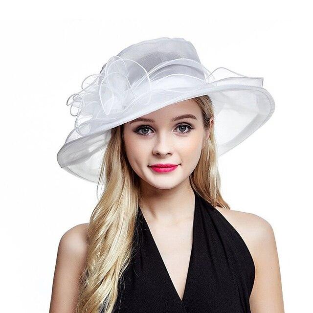 Lawliet Bianco di Estate Cappelli per Le Donne Signore Organza Larga Tesa  Cappello Da Sole Kentucky 06686a236384