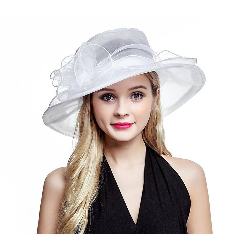 Lawliet White Summer Hats For Women Ladies Organza Wide Brim Sun Hat Kentucky Derby Wedding Church Party Floral Hat Cap A002