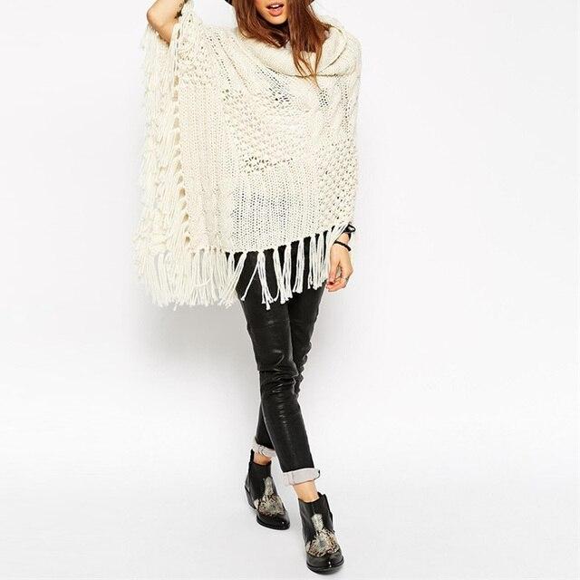 Lic зима Для женщин Batwing накидка пончо шаль трикотажный топ пуловер оверсайз вязаный свитер пальто Верхняя одежда, куртки overwear с кисточкой