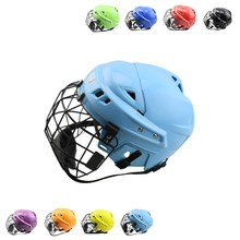 CE Mark colorful ice hockey player helmet birthday present& gift combo face shield cage