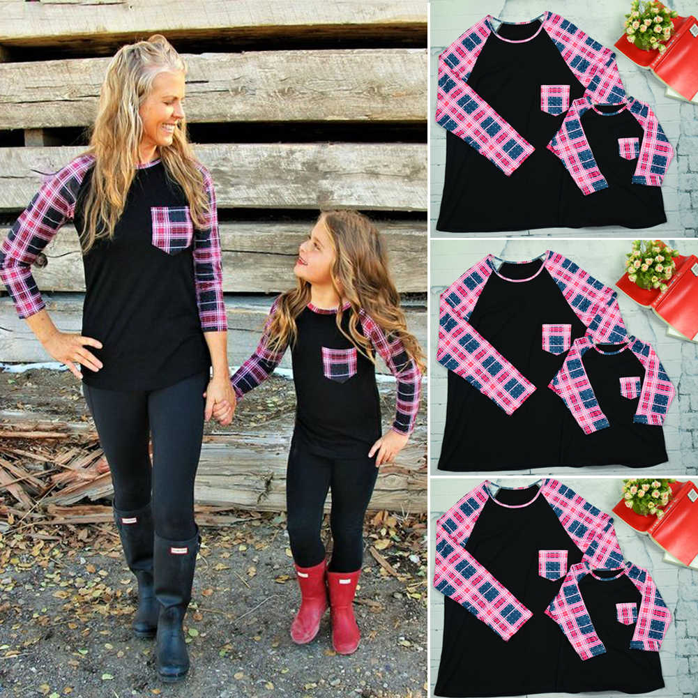 6539474ec5 Brand New Christmas Family Matching Outfit Mother Daughter T shirt Clothes  Stitching Blouse Baby Girl Top