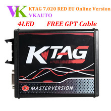New 4LED KTAG K-TAG V7.020 V2.23 Red EU Online Version No Tokens Limit Support Full Protocols Free Shipping
