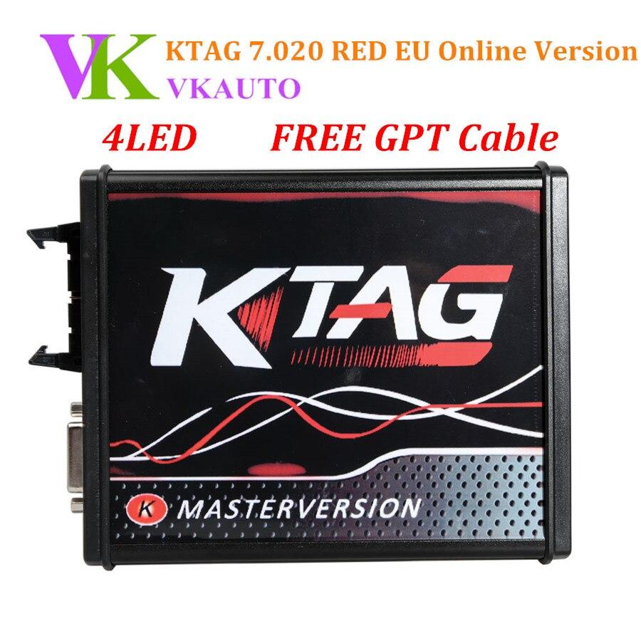 New 4LED KTAG K-TAG V7.020 V2.23 Red EU Online Version No Tokens Limit Support Full Protocols Free Shipping
