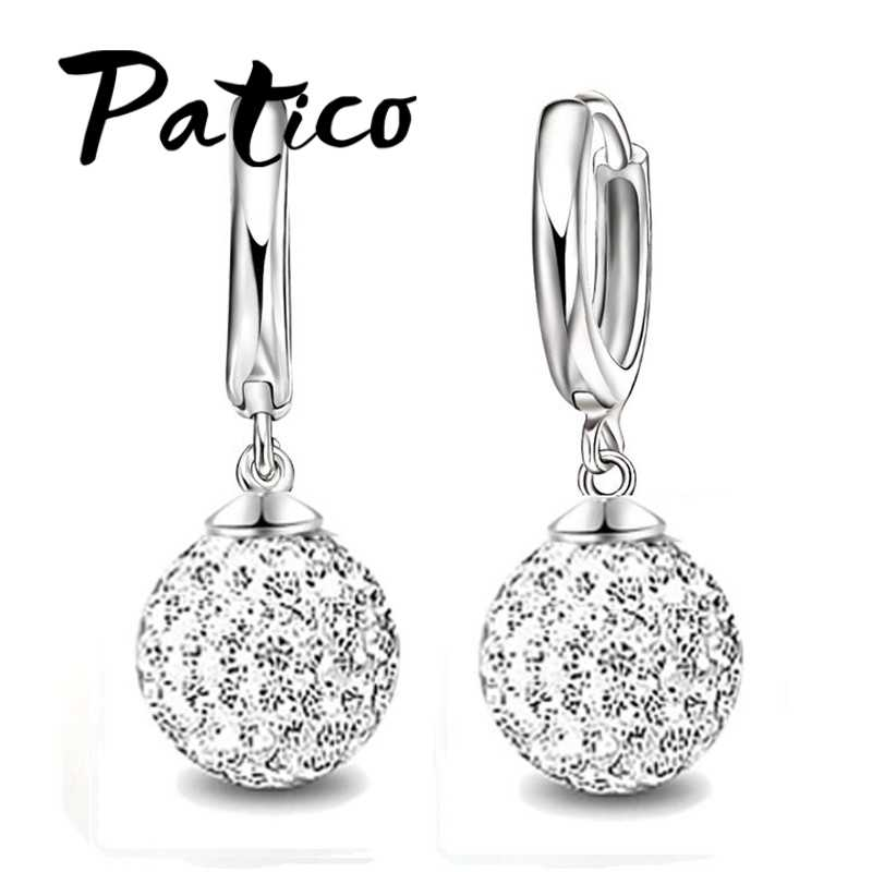 Fast Free Ship 925 Sterling Silver Austrian Pave Disco Ball Hoop Lever back Earring Woman Jewelry Multi Colors