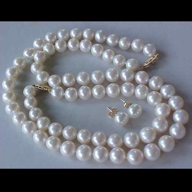 "GA chọn Màu HOT 8 MÉT shell TRÂN NECKLACE BRACELET & EARRINGS SET 17.5 ""7.5"""