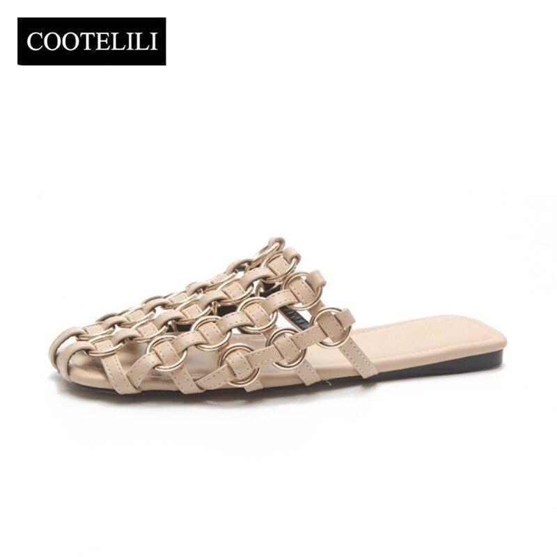 COOTELILI/женские туфли без задника пляжные сандалии Летние Тапочки женские повседневные туфли на плоской подошве, без шнуровки бежевый черный ...