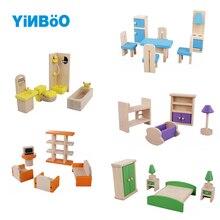 Деревянный нежный кукольный домик мебель игрушки Миниатюрные для детей Дети ролевые игры куклы игрушки 5 стилей