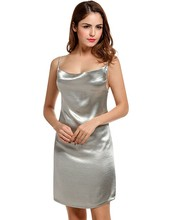 Alishebuy New Women Sexy Cowl Neck Solid Shining Color Party Spaghetti Straps Dress Cami Dress