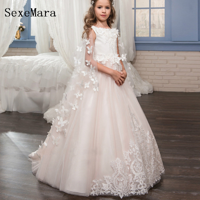 New White Lace Scoop Neck   Flower     Girls     Dress   for Wedding with Cape 3D Butterflies   Girls   First Communion   Dress   Birthday Gown