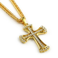 Iced Out Cross Pendant 18k Yellow Gold Filled Mens Crucifix Pendant Chain Necklace