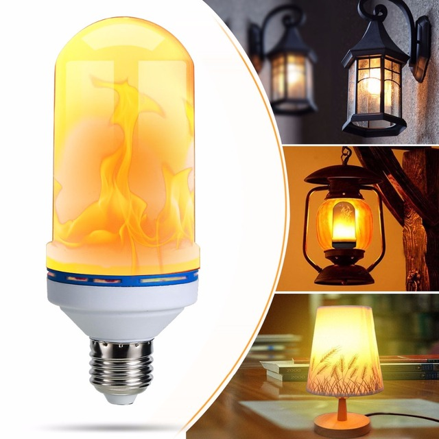 Flickering Light Portable Outdoor Hanging Camping Tent Bulb Fishing Lantern Flame Effect Fire Bulbs
