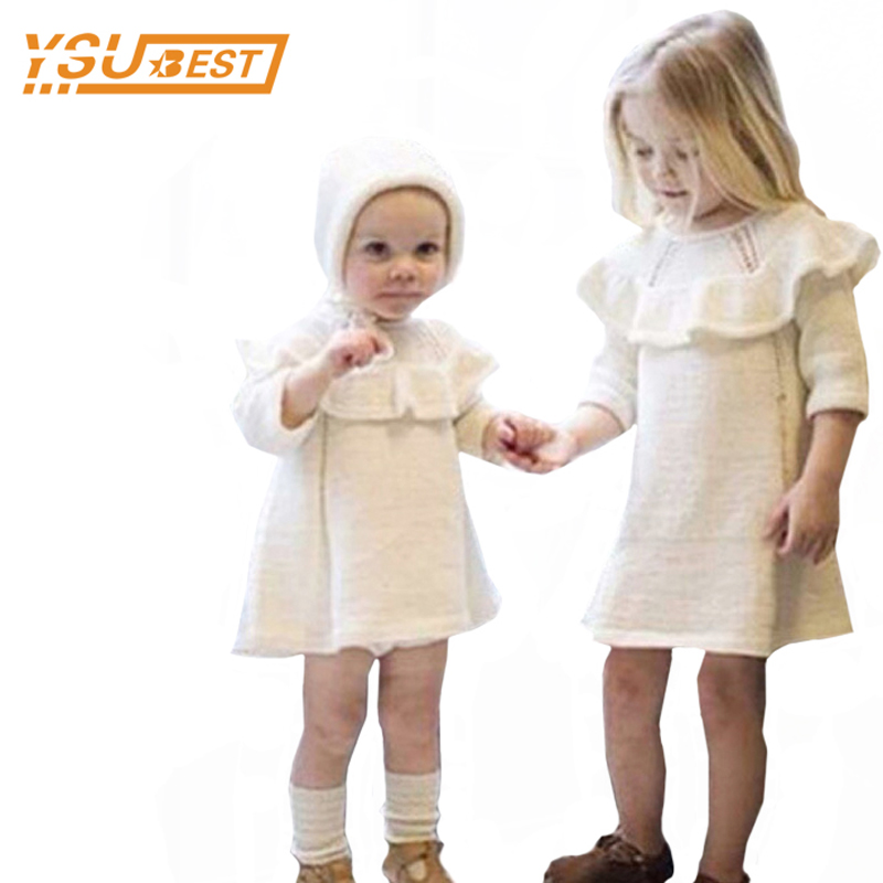 New 2017 Baby Girls Sweater Dress+Cap 2pcs Girls Clothes 0-5yrs Infant Girl Knitted Dress Brand Cotton Kids Long Sleeve Clothes 2015 new jacadi baby sweater dress yf01