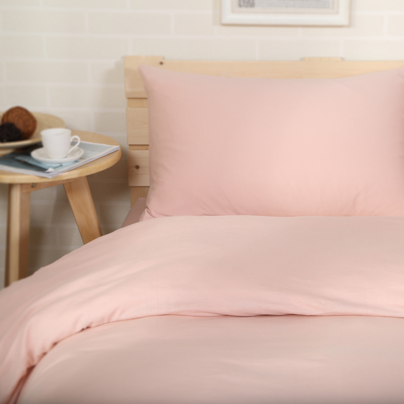 4pcs 100% Cotton Jersey Knitted Fabric Muji Style Girls Pink Solid Color Bed  Linen Euro Double Blanket Cover Set 1.5m Sheet In Bedding Sets From Home ...