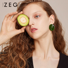 ZEGL retro green earrings lap womens fashion