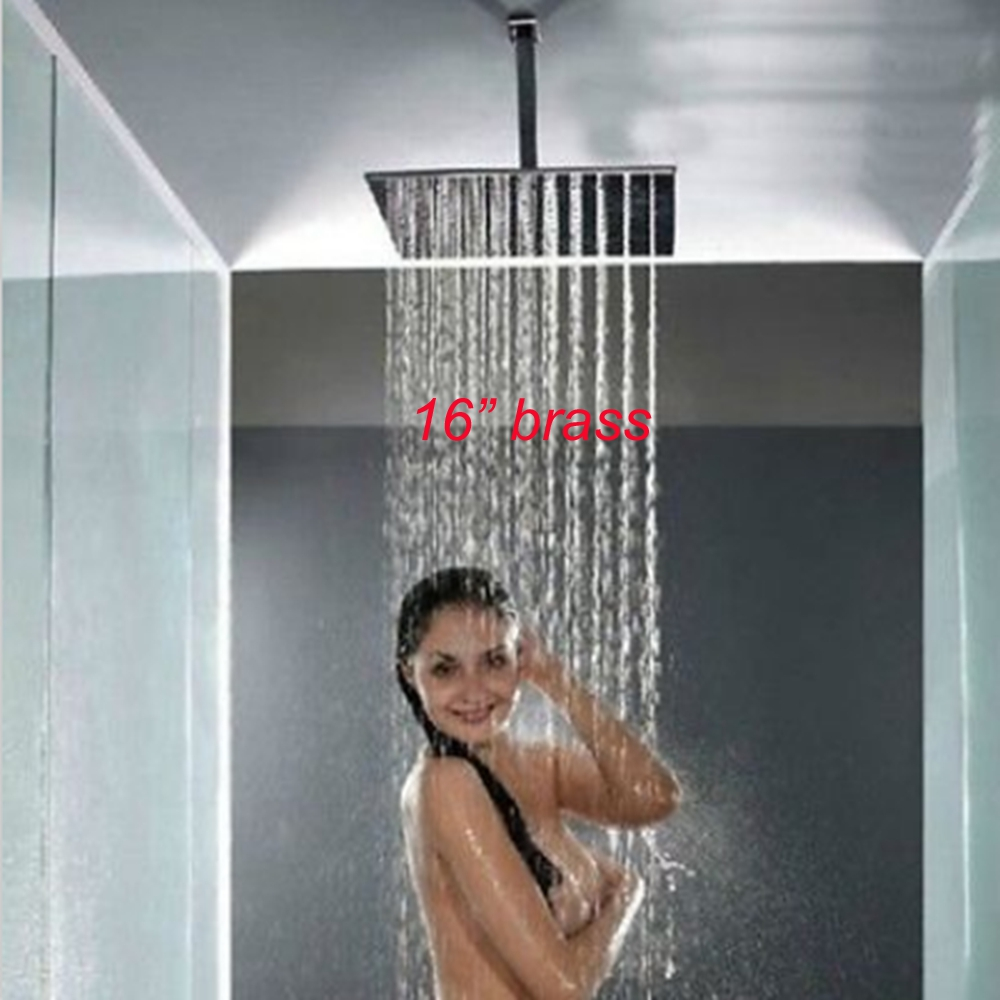 rain shower head attachment. Uythner Polished Chrome 16  Square Rain Shower Head Sprayer Ceiling Mounted in Heads from Home Improvement on Aliexpress com Alibaba Group