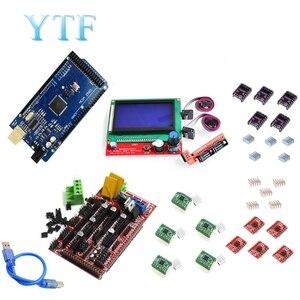 Image 3 - Mega 2560 R3 + 1Pcs RAMPS 1.4/1.5/1,6 Controller + 5Pcs A4988 Stepper Fahrer Modul/12864 LCD Control 3D Drucker Kit