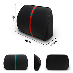 Image 3 - O SHI CAR PU Leather + Memory Cotton Car Seat Supports Comfortable And Healthy Lumbar Pillow Pad Waist Thicker Cushion