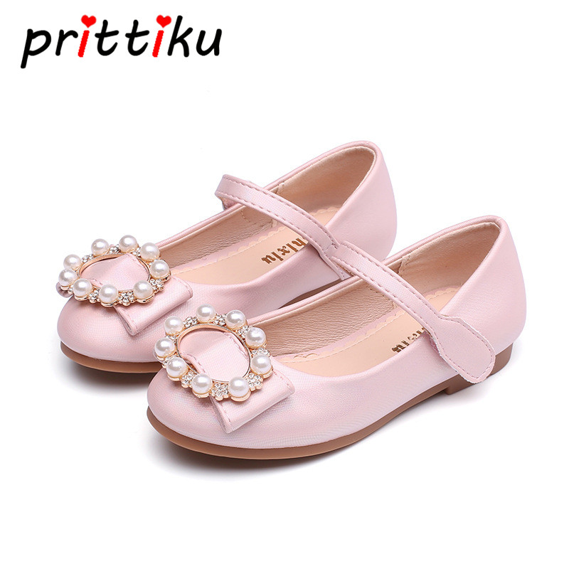 Toddler Girls Leather Pearl Beaded Mary Jane Flats Little Kid Party Dancing School Big Children Performance Pageant Dress Shoes