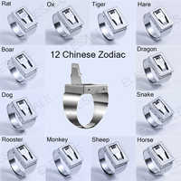 2018 New 12 Zodiac Stainless Steel Ring Adjustable Women Men Safety Tools Outdoor Hidden Survial Weapon Self Defense EDC Rings