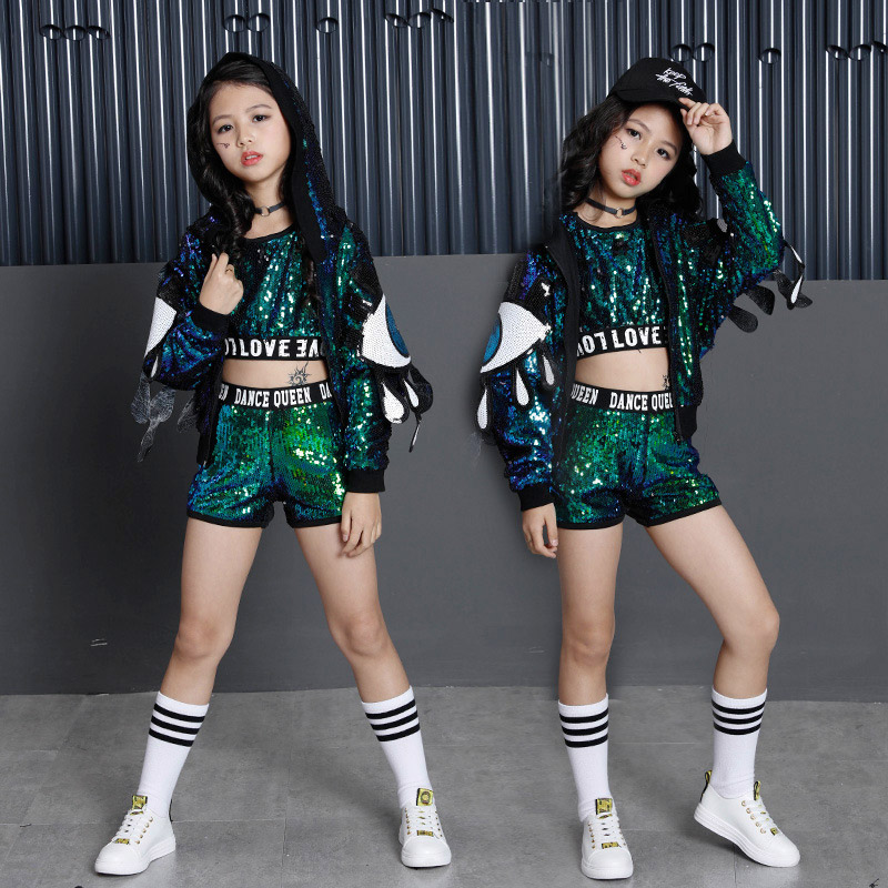 Mother Daughter clothing set Bling Green Sliver Sequins girls street dance suit  midriff Tops jazz dance Costumes ensemble filleMother Daughter clothing set Bling Green Sliver Sequins girls street dance suit  midriff Tops jazz dance Costumes ensemble fille