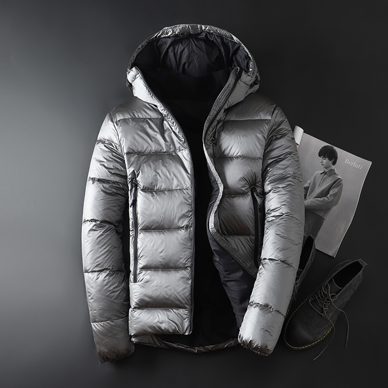 2018 جديد الشتاء القاسية الأبيض أوزة أسفل معطف مزدوجة قبعة للرجال رشاقته أبلى يندبروف مقنعين حجم M XXXL-في جواكت قصيرة من ملابس الرجال على  مجموعة 1