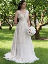 Свадебное платье с открытой спиной шифоновое ТРАПЕЦИЕВИДНОЕ