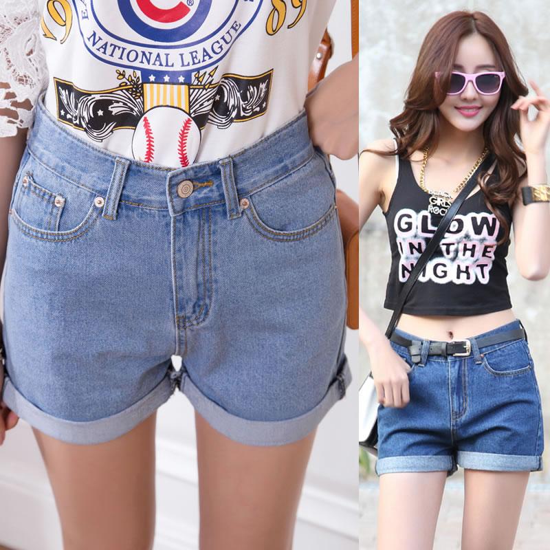 Free shipping~Korean loose Casual slim high waist shorts denim ...