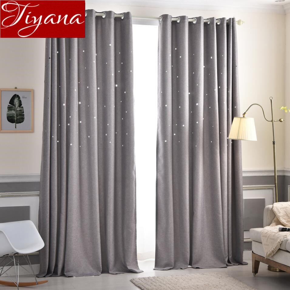 Stars Curtain Gray Hollow For Kids Room Cartoon Window Bedroom Tulle Curtain Purple Sheer Fabrics Drapes Treatment X414 #30