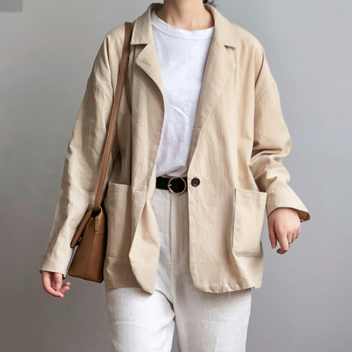 New Autumn Office Lady Blazers Vintage Oversized Blazer Wild Loose Thin Solid Color Women Blazers Long Sleeve Work Office(China)