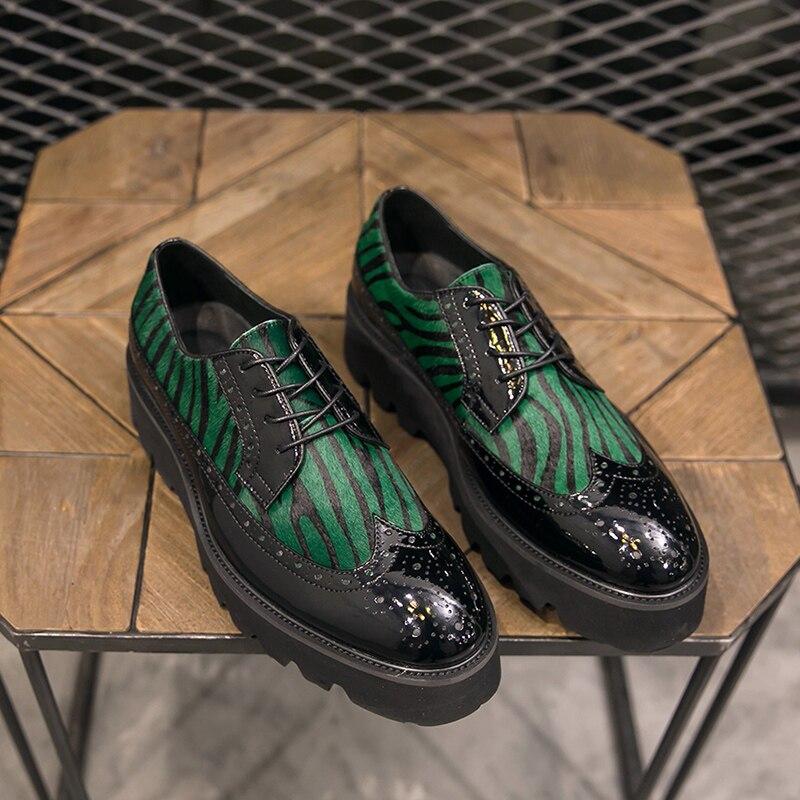 Sapatas Com Homens Formal Crina 0415 Vestido Brogue Negócios De Grosso Dos Festa Genuína Marca Da Do Cavalo Fundo Luxo Couro Black Sapatos rwTFqr5Wa