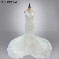 Real Model Vestido De Noiva Custom Made V Neck Lace Mermaid 2015 Elegant Wedding Dresses