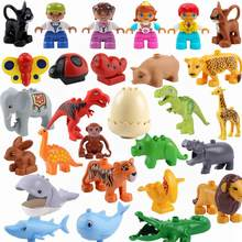 Legoing Duplo Insect Animals Butterfly Pig Elephant Jurassic Dinosaurs Large Size Building Blocks Toys for Children Duplo Animal(China)