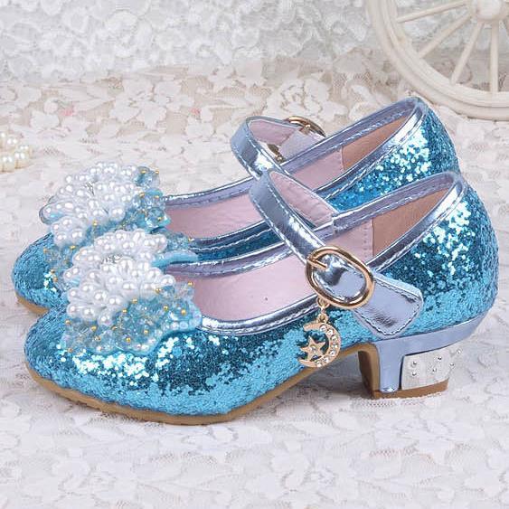HaoChengJiaDe Kids Shoes Size26-36 Sweet Summer Children Girls Leather Sandals butterfly Cute Casual Princess High heels Shoes