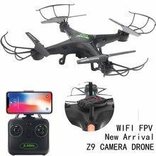 Quadcopter Drone Z9 Wifi RTF 2,4 4CH nos helicóptero modo sin cabeza una tecla retorno HD Cámara Drone WiFi FPV quadcopter Juguetes