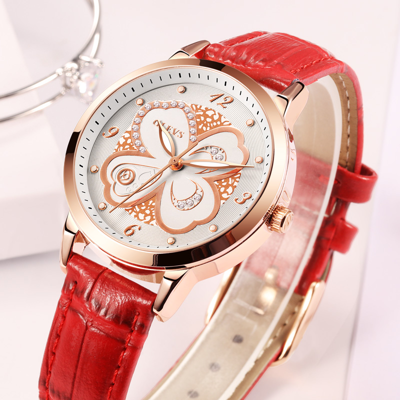 Women Red Leather Luxury Wrist watch, by OLEVS